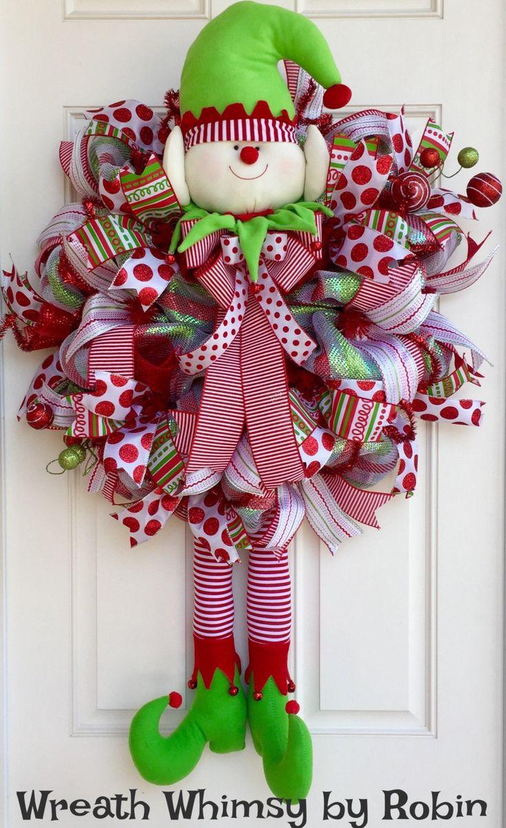 Front door deco mesh christmas decorations - Xl Deco Mesh Holiday Elf Wreath In Red And Lime Green Christmas Wreath Whimsical Wreath Elf Decor Front Door Wreath