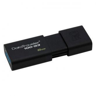 KINGSTON Pamiec USB pendrive DT100G3/8GB USB 3.0 DataTraveler 100 G3  Pamięć flash USB Kingston DataTraveler 100 G3 (DT100G3) pojemności 8 GB jest zgodae ze standardem nowej generacji - USB 3.0 - i umożliwia wykorzystanie tej technologii w nowszych komputerach przenośnych i stacjonarnych oraz innych urządzeniach cyfrowych. Z D100G3 zapisywanie i przenoszenie dokumentów, prezentacji, muzyki, filmów i innych plików jest szybsze i łatwiejsze niż kiedykolwiek.