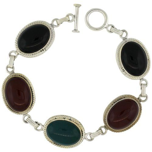 Sterling Silver Multi Color Stone Oval Link 7.5 in. Bracelet w/ Toggle Type Lock, 11/16 in. (17mm) wide Sabrina Silver. $118.56