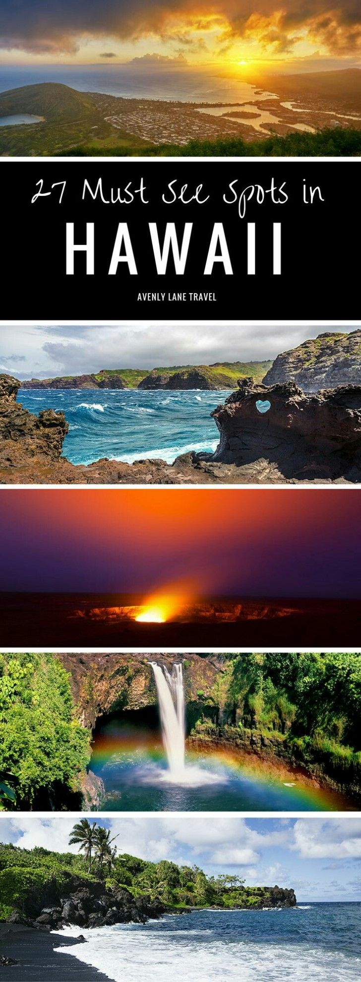 See 27 of the most incredible places to visit for Hawaii vacation! Click through to see if your favorites from the islands of Oahu, Kauai, The Big Island, and Maui made the list! Things to do in Hawaii!!