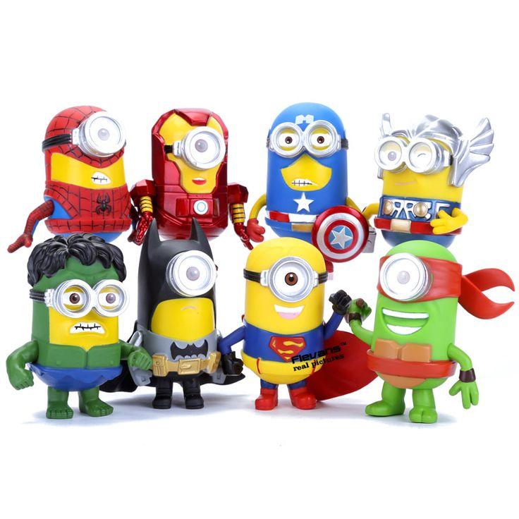 3D Eye Minion Cos Super-heróis Vingadores homem De Ferro Hulk Thor Spriderman PVC Figuras de Ação Brinquedos Infantis 8 pçs/set DSFG258(China (Mainland))