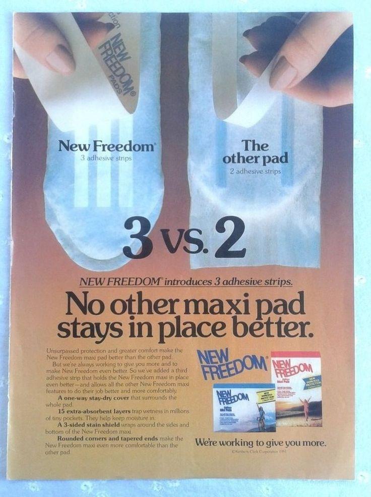 Vintage 1981 New Freedom Maxi Pad Magazine Advertisement Feminine Product #NewFreedom