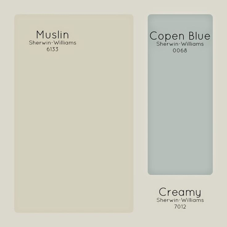 Our paint colors. Sherwin-Williams Paint - Muslin, Copen Blue, Creamy Davy's... Sherwin Williams Creamy