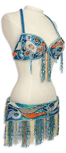 SWEET. Turquoise & Orange Egyptian Bra & Belt Belly Dance Costume - At DancingRahana.com