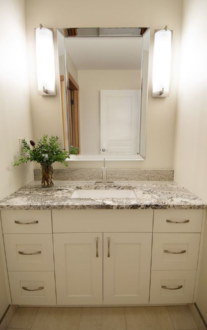 Digital Art Gallery White painted bathroom vanity remodel on Cranbrook BC by Gipman Millwork and Interiors by Adrienne