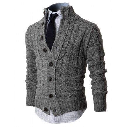 MENS Sweaters HIGH NECK TWISTED KNIT CARDIGAN SWEATER WITH BUTTON DETAILS (KMOCAL020:DOUBLJU)