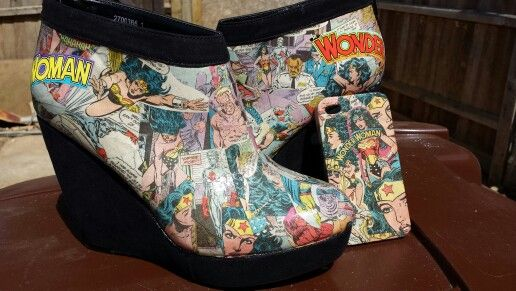 Customised Wonder Woman shoes and matching iPhone case
