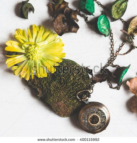 old pocket watch still life with pout porri, fashion design - stock photo