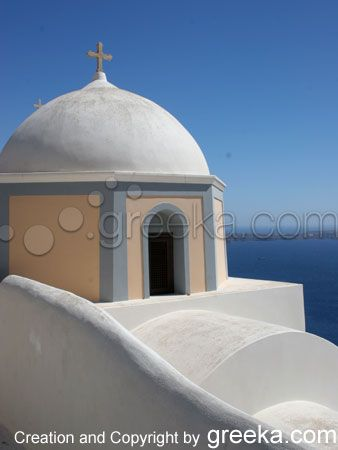 One of the most famous churches of the island inOia village, Santorini island, Greece. - selected by www.oiamansion.com
