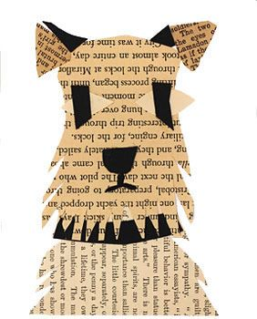 puppy portrait using book pages -- looks like my Dexter!
