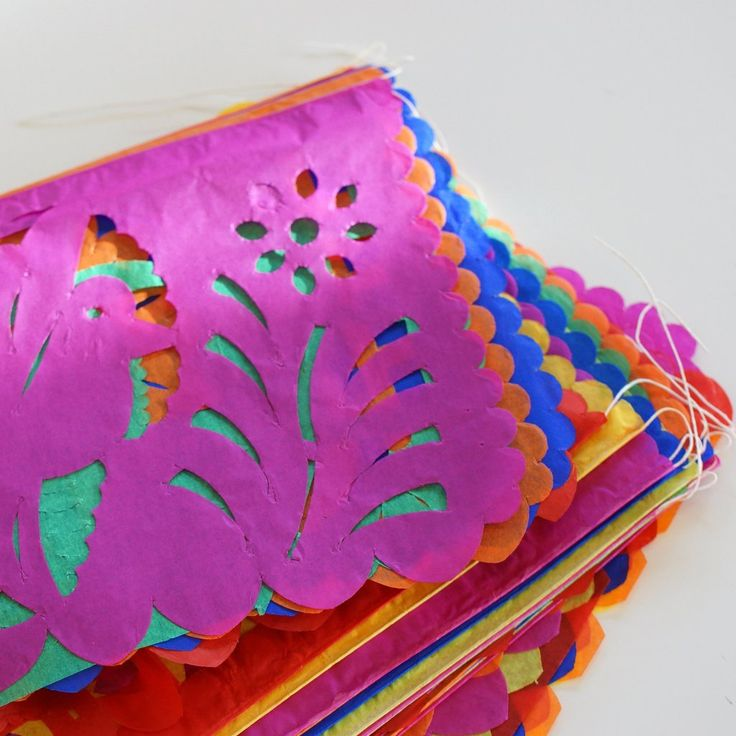 Papel Picado, 50 Mexican Paper Flags on a String, Paper