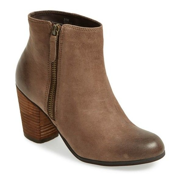 "BP. 'Trolley' Ankle Bootie, 3"" heel (170 CAD) ❤ liked on Polyvore featuring shoes, boots, ankle booties, ankle boots, chocolate, side zip boots, leather bootie, high heel boots, bootie boots and short ankle boots"
