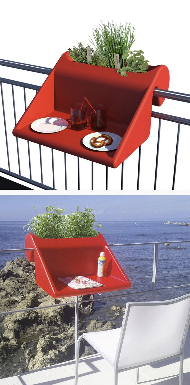 balKonzept Balcony Desk Red by Michael Hilger // I need this for my narrow balcony! clever, space-saving #productdesign