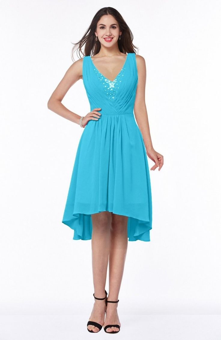 Turquoise Bridesmaid Dress - Elegant A-line Sleeveless Zip up Rhinestone Plus Size Maxi
