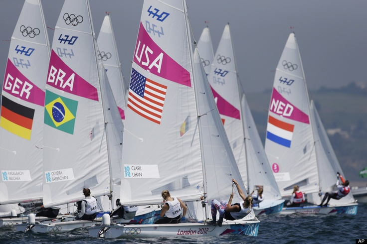 Sailing  470 women class fleet compete during the medal race at the London 2012 Summer Olympics, Friday, Aug. 10, 2012, in Weymouth and Portland, England. (AP Photo/Bernat Armangue)
