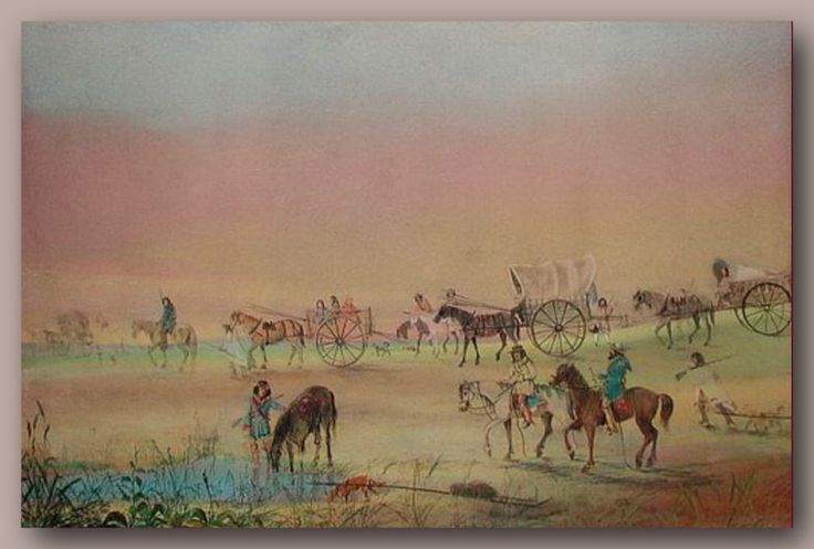 A train of Red River carts in this painting by Canadian artist, William Wallace Armstrong  (Canadian/Irish, 1822–1914) This painting is of a Metis buffalo hunting expedition circa 1870. [Manitoba] Probably this was on the artists trip west eith the Wolseley Expedition.