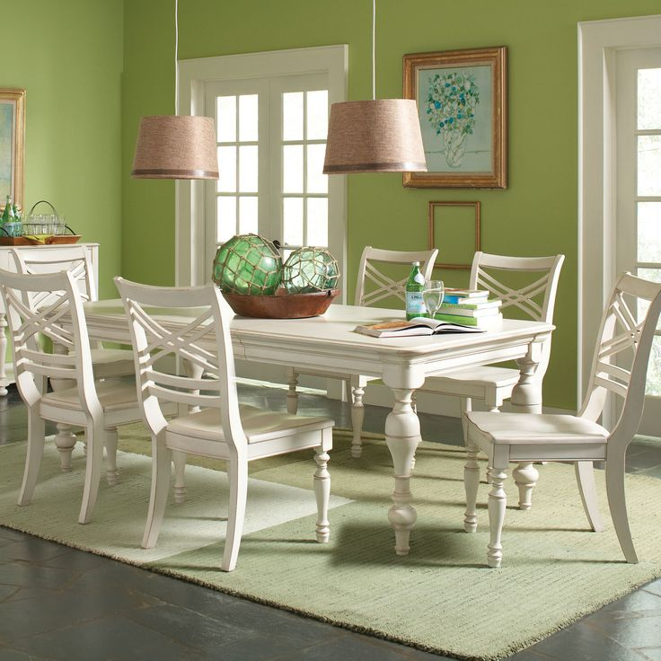 "**Riverside Furniture Placid Cove Dining TableLeaf Length - Side to Side: 18 "" Overall: 30"" H x 66"" L x 42"" W Legs: 29"" H x 5"" W x 5"" D Length When Fully Extended: 84 """