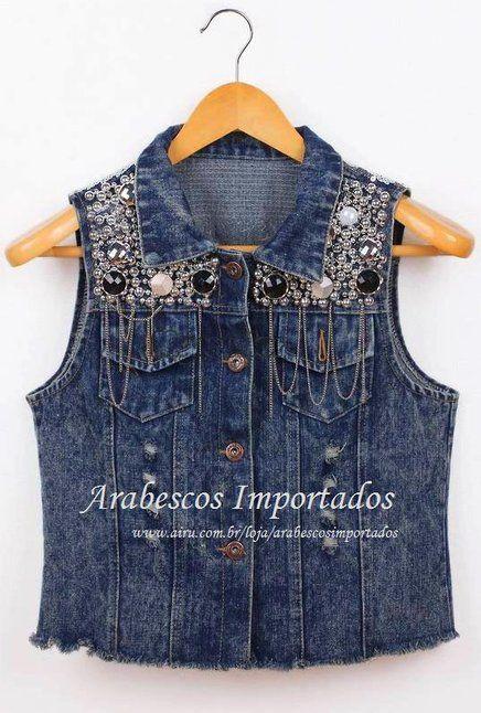 Colete Jeans Pedrarias - Arabescos Importados