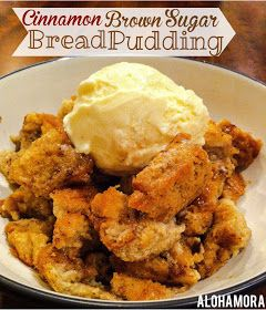 Cinnamon Brown Sugar Bread Pudding is easy to make and uses your leftover breads, hamburger or hot dog buns, or any old leftover bread.  Rich delicious flavor to enjoy for breakfast or dessert. Alohamora Open a Book http://www.alohamoraopenabook.blogspot.com/