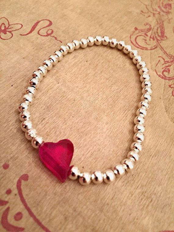 Silver Plated Crystal Glass Heart Beaded by Alwaysbethemermaid