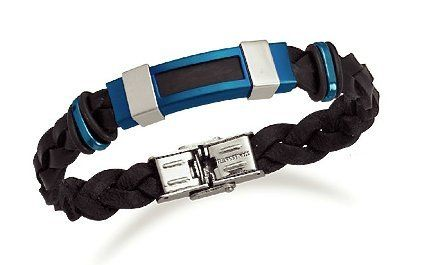 3/8 inch wide Black Leather Bracelet, Polished and Blue Matte Stainless Steel Accents, 8 1/2 inch, Silver Messages. $27.99