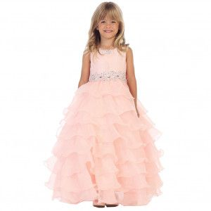 Angels Garment Big Girls Blush Lace Organza Ruffle Junior Bridesmaid Dress 7-10