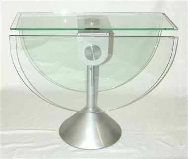 Extendable Oval Shaped Glass Top Dining Table W Steel Pedestal Base   Paris  # Top
