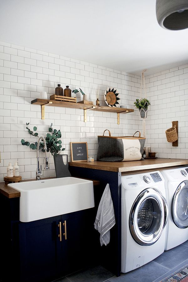 Modern Navy Laundry Room Refresh Brepurposed Laundry Room Renovation Modern Laundry Rooms Small Laundry Rooms