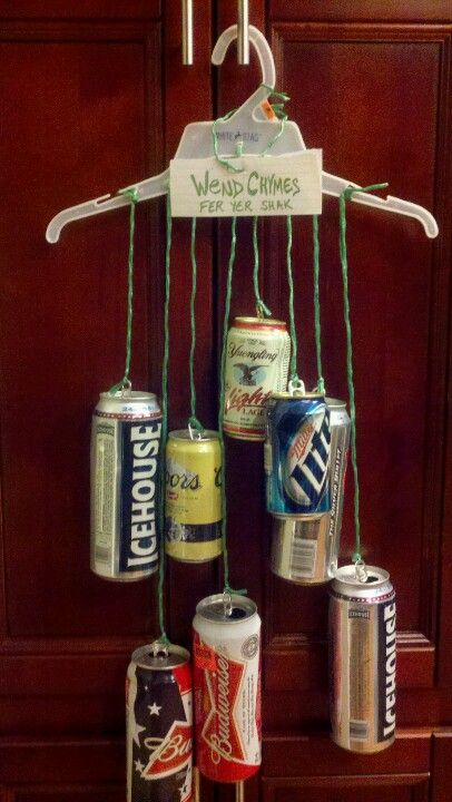 Made from a Walmart hanger and beer cans... redneck wind chimes.