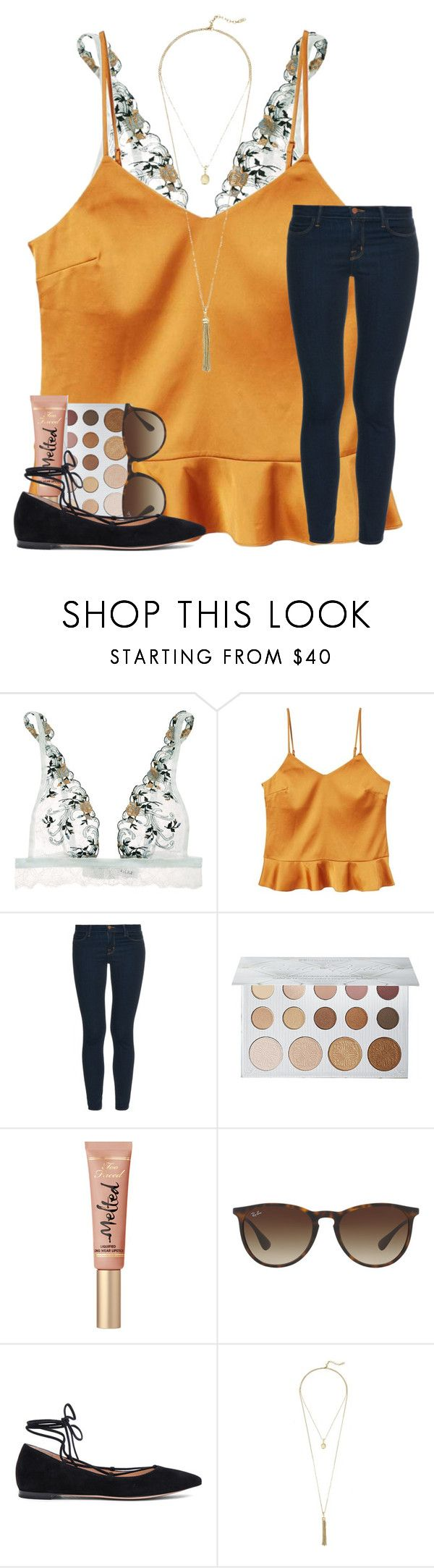 """do y'all watch college football?"" by mallorykennerly ❤ liked on Polyvore featuring La Perla, MANGO, J Brand, ULTA, Ray-Ban, Gianvito Rossi and Cole Haan"