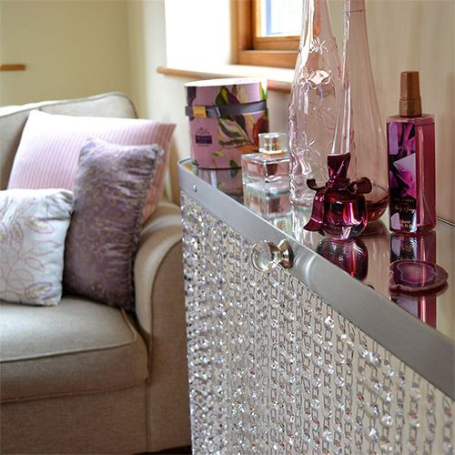 Crystal console table that is perfect as a a beauty and makeup shelf, dressing table and displaying your favourite pictures and accessories