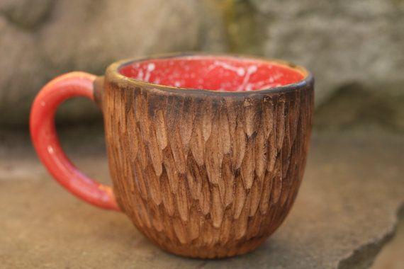Red mug Rustic mug Coffee mug Woodland cup Polka dot cup Dotted cup Unique mug His and hers Birthday gift Christmas gift Girlfriend gift
