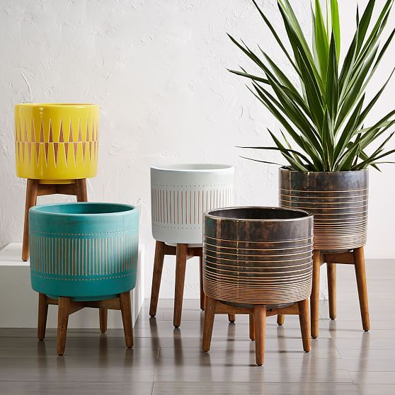 Mid-Century Turned Wood Leg Planters