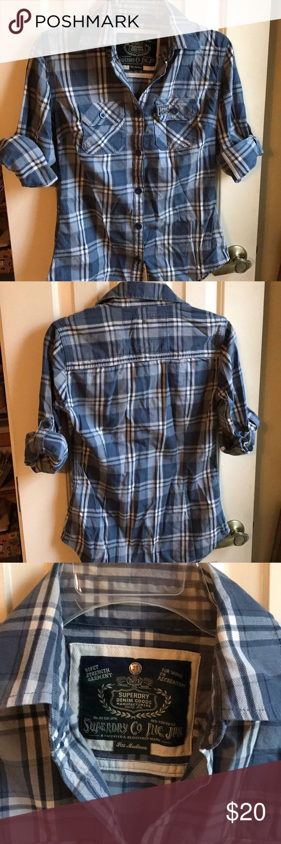 Plaid Superdry button up Great blue and white plaid button-up top with 3/4 length roll-up sleeves. Extra buttons included. 100%cotton. Very thick and warm. Medium but runs small. Superdry Tops Button Down Shirts