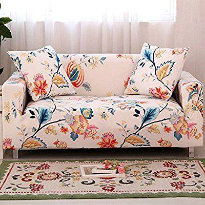 Amazon.de: FORCHEER Sofabezug Elastischer Sofaüberwurf Blumen-Muster Sofa Cover Stretch Hussen für