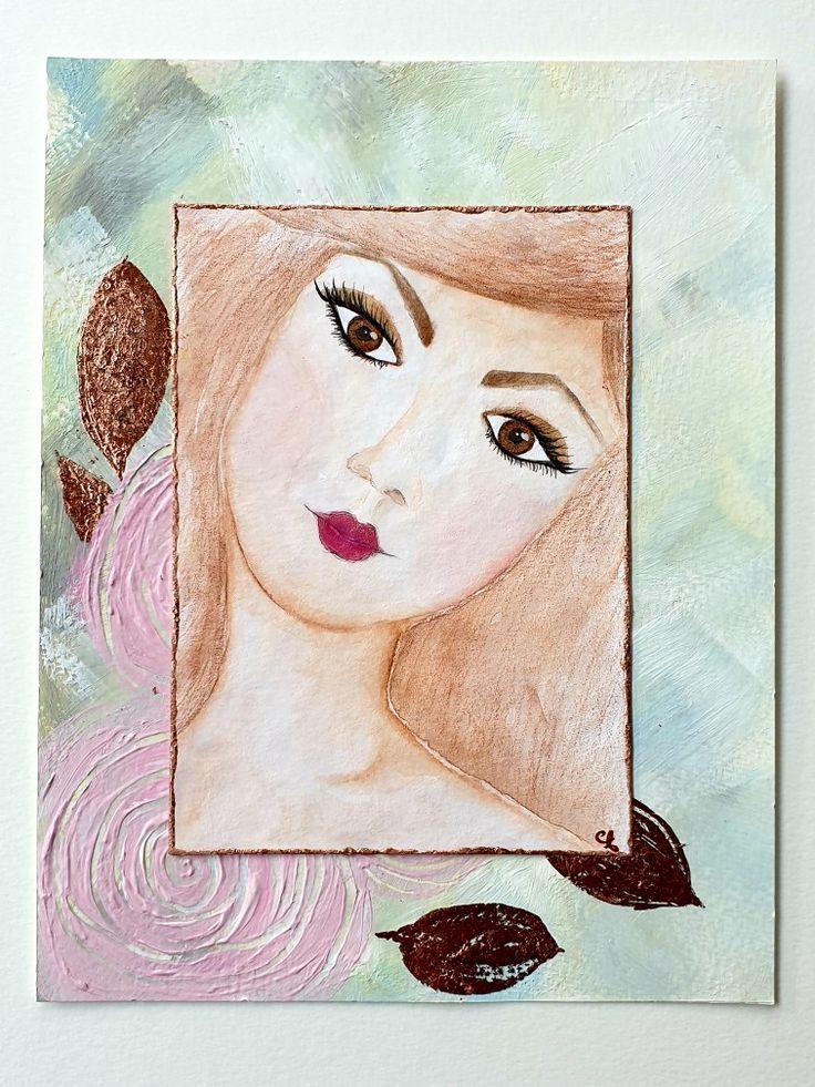 aquarell gesicht women watercolor blumen roses leaves in