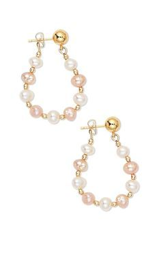 Jewelry Design - Earrings with Cultured Freshwater Pearls and Gold-Plated Brass…