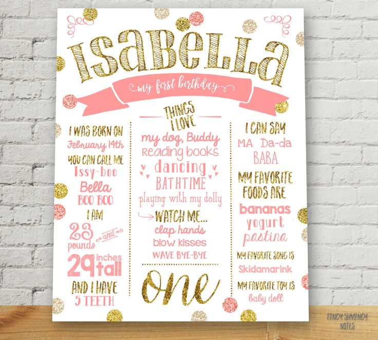 first birthday poster customized birthday sign pink and gold