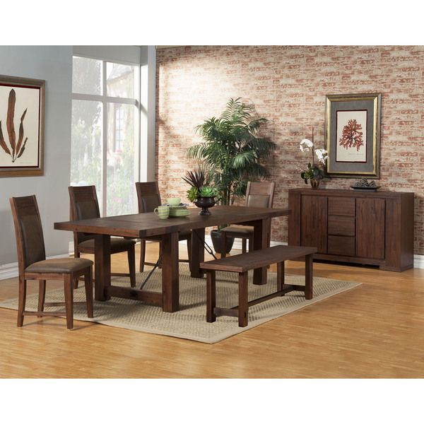 Somette Brookport Cappuccino 76 Inch Dining Table With Dual Butterfly Leaves