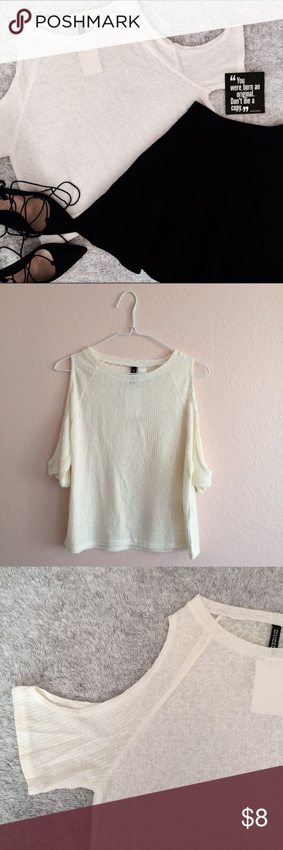 Cream Cold Shoulder Short Sleeve Top | H&M NWOT • Bundle to save on shipping! • H&M Tops Tees - Short Sleeve