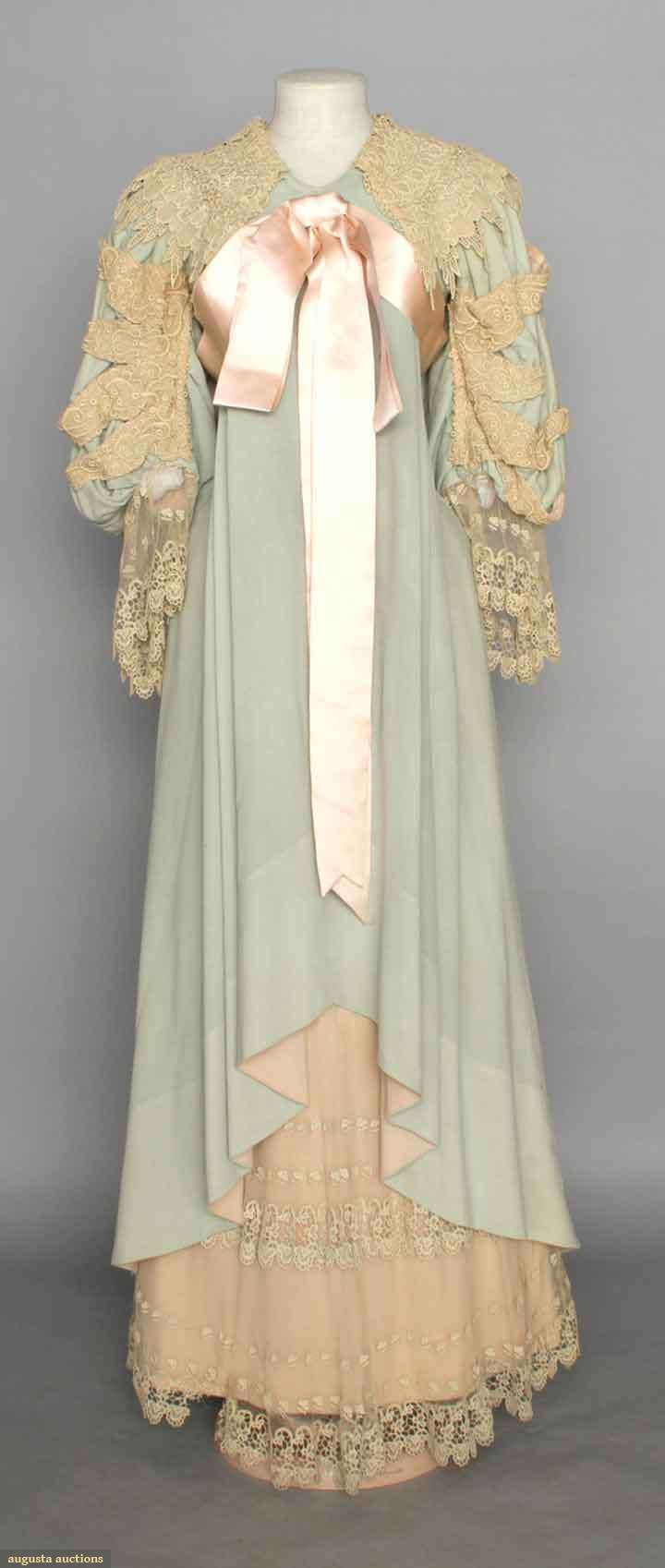 ~WOOL LACE MORNING GOWN, c. 1895 Blue flannel w/ chemical lace trim, pink silk sash~