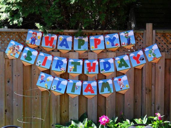 This everything youll need to throw a Super Mario Birthday Party! A Birthday Banner, with all the letters of the alphabet so you can spell out your kids name, or write your own custom message. *** This is an instant download you can download it the second you buy it ***  It also includes many of the different Characters from the Super Mario Bros. Nintendo game including, Mario, Luigi, Toad, Princess Peach, Koopa, Goomba, Bowser and much more!  The images are crisp and clean, all in high…
