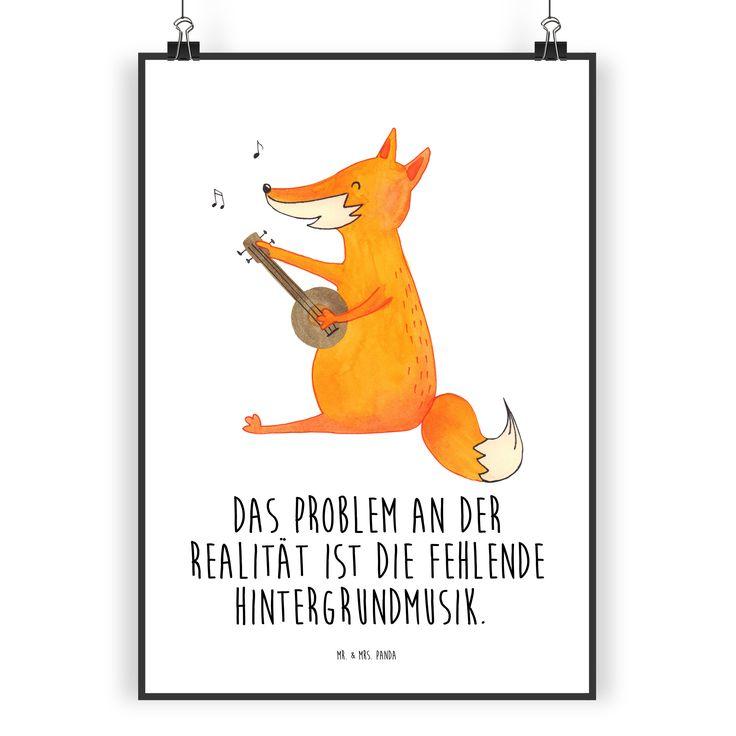 Poster DIN A3 Fuchs Gitarre aus Papier 160 Gramm  weiß - Das Original von Mr. & Mrs. Panda.  Jedes wunderschöne Poster aus dem Hause Mr. & Mrs. Panda ist mit Liebe handgezeichnet und entworfen. Wir liefern es sicher und schnell im Format DIN A3 zu dir nach Hause.    Über unser Motiv Fuchs Gitarre  Die Fox Edition ist eine besonders liebevolle Kollektion von Mr. & Mrs. Panda. Jedes Motiv ist wie immer bei Mr. & Mrs. Panda hangezeichnet und wird in unserer Manufaktur im Herzen…