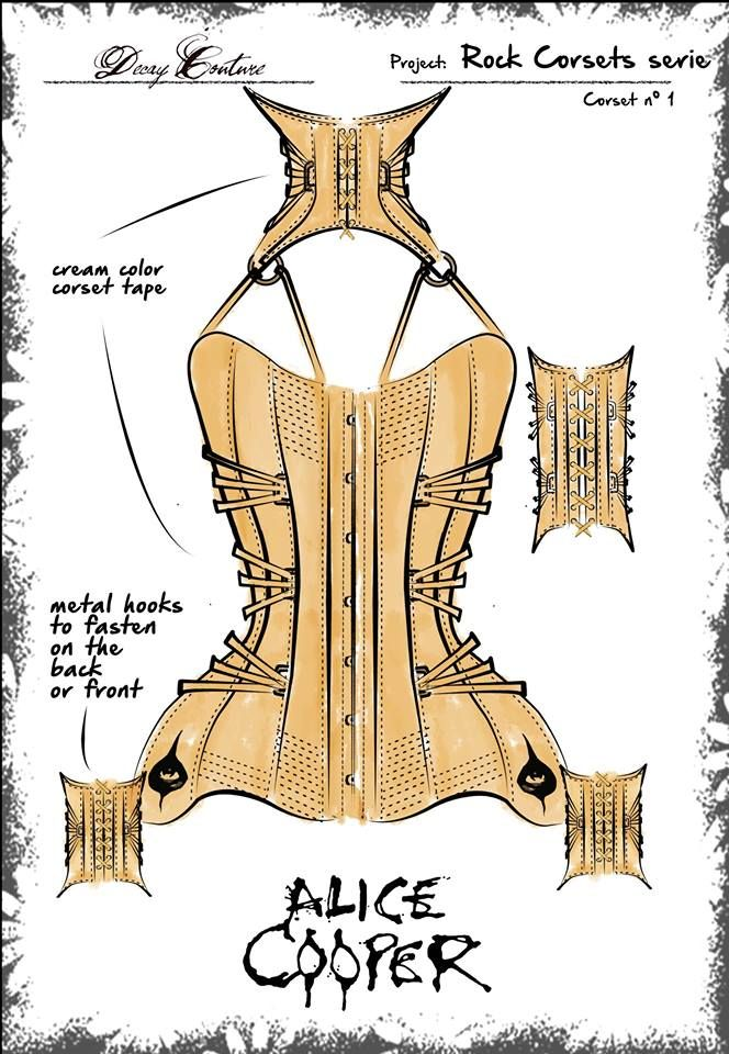 Technical fashion sketch of the Alice Cooper corset - www.decaycouture.com