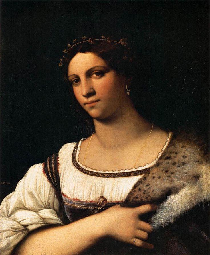 Retrato de uma Mulher (1512) Sebastiano del Piombo - Galleria degli Uffizi, Florença  A modelo é uma livre das peles, sem as jóias, e a guarnição em sua roupa com motivos clássicos são bordados com fios de ouro.  As lições de Leonardo, Raphael, e Giorgione estão aqui no sombreamento sobre a pele e pelagem, e nela o contornos do rosto suavemente modelado, com o seu olhar atraente