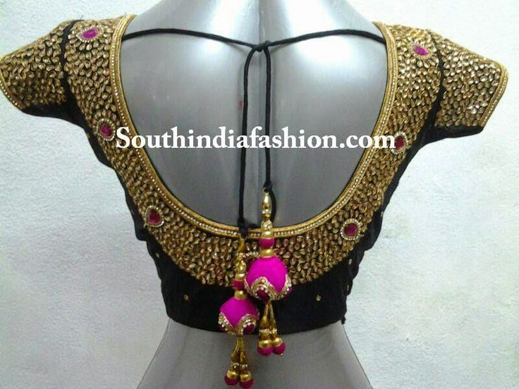 kundan work saree blouse designs
