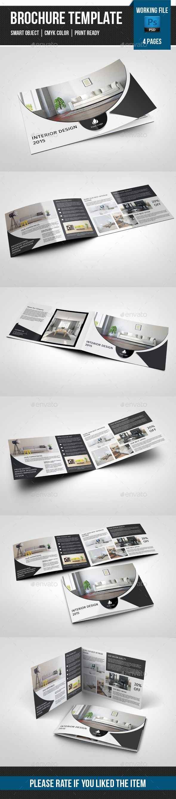 4 Page Landscape Brochure for Interior Design Template. Download: http://graphicriver.net/item/4-page-landscape-brochure-for-interior-designv242/11258311?ref=ksioks