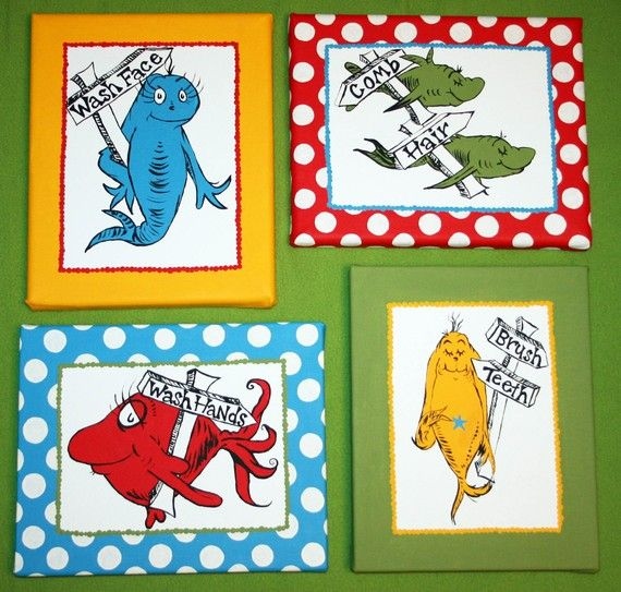 One Fish Two Inspired Set Of 4 Dr Seuss Bathroom By Paintmama 145 00