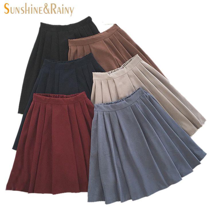 2016 new brand girls skirts pleated schoolgirls skirt uniforms cos high waist solid pleated skirt female mid retro boot skirt