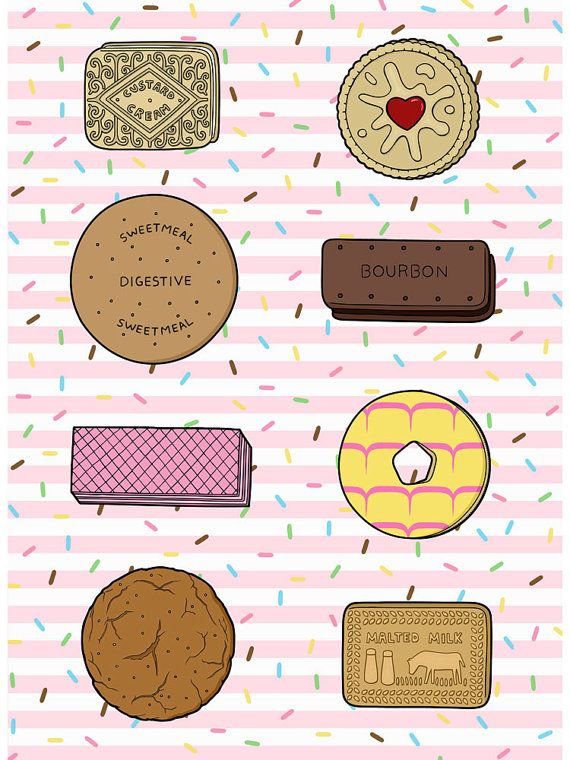 The Classics, A3 sized illustration of eight very British biscuits
